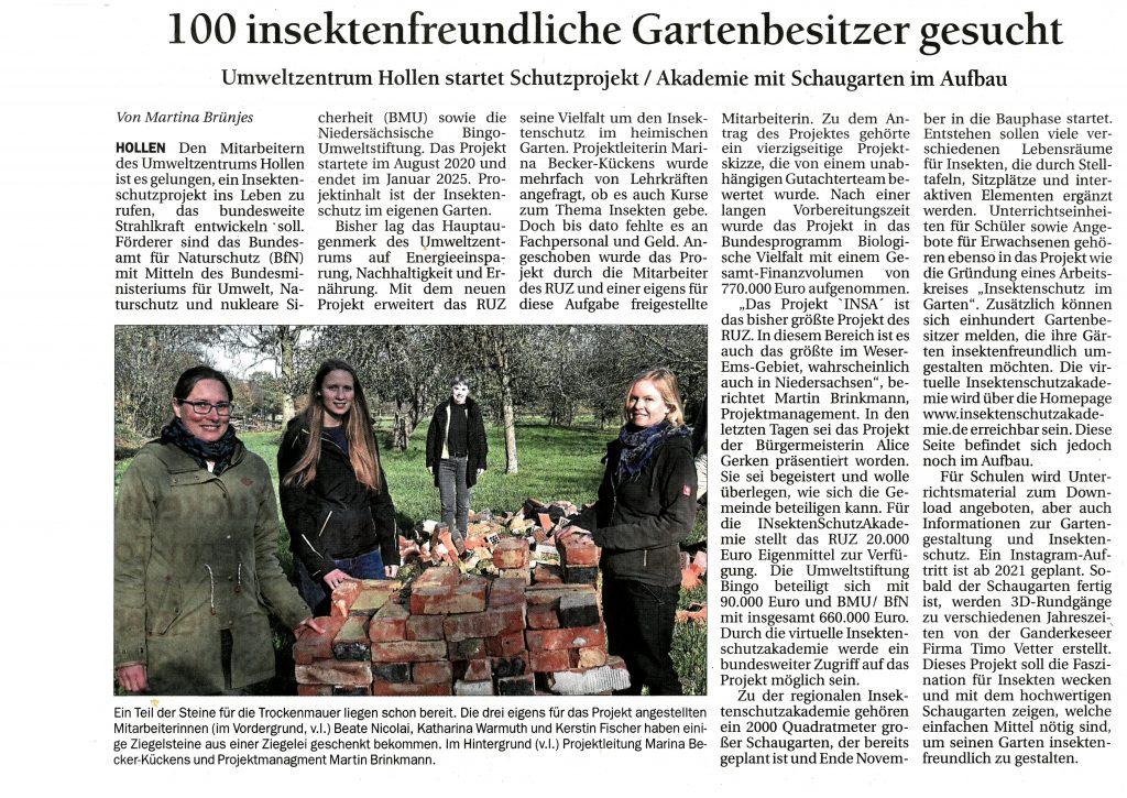 Zeitungsartikel aus dem Delmenhorster Kreisblatt vom 14.11.2020