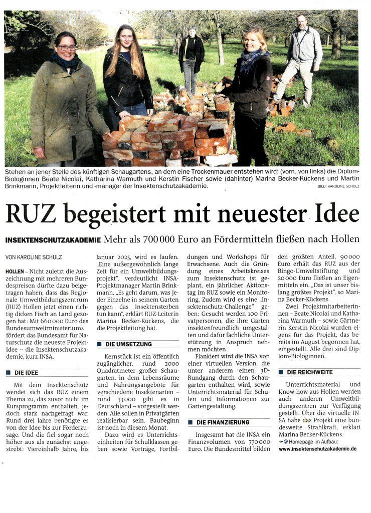 Zeitungsartikel aus der NWZ vom 14.11.2020