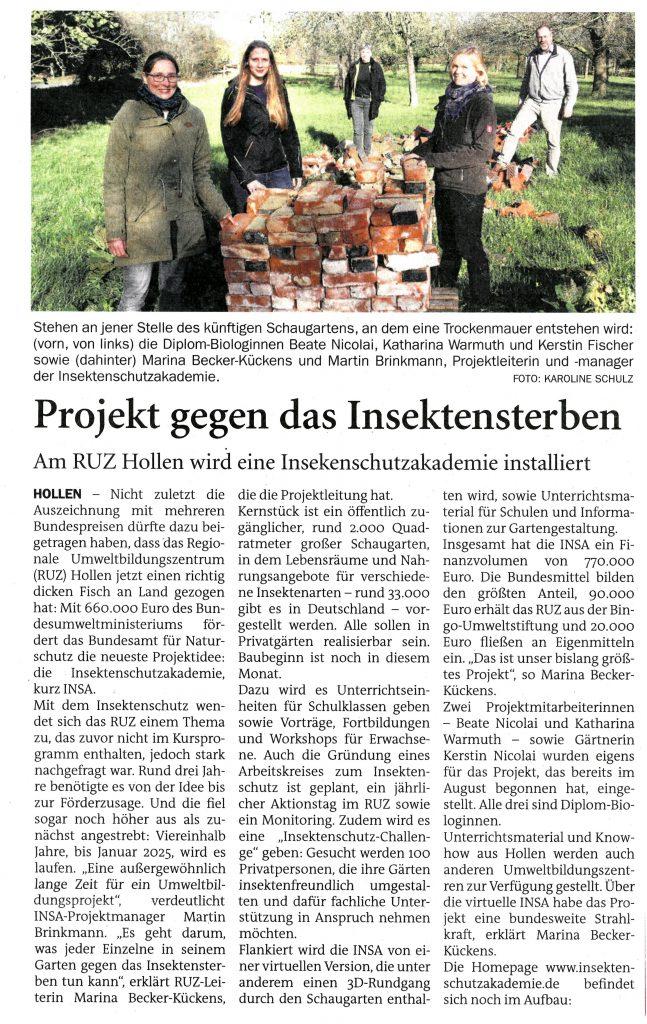 Zeitungsartikel aus dem Sonntagsblatt Landkreis Oldenburg vom 21.11.2020.