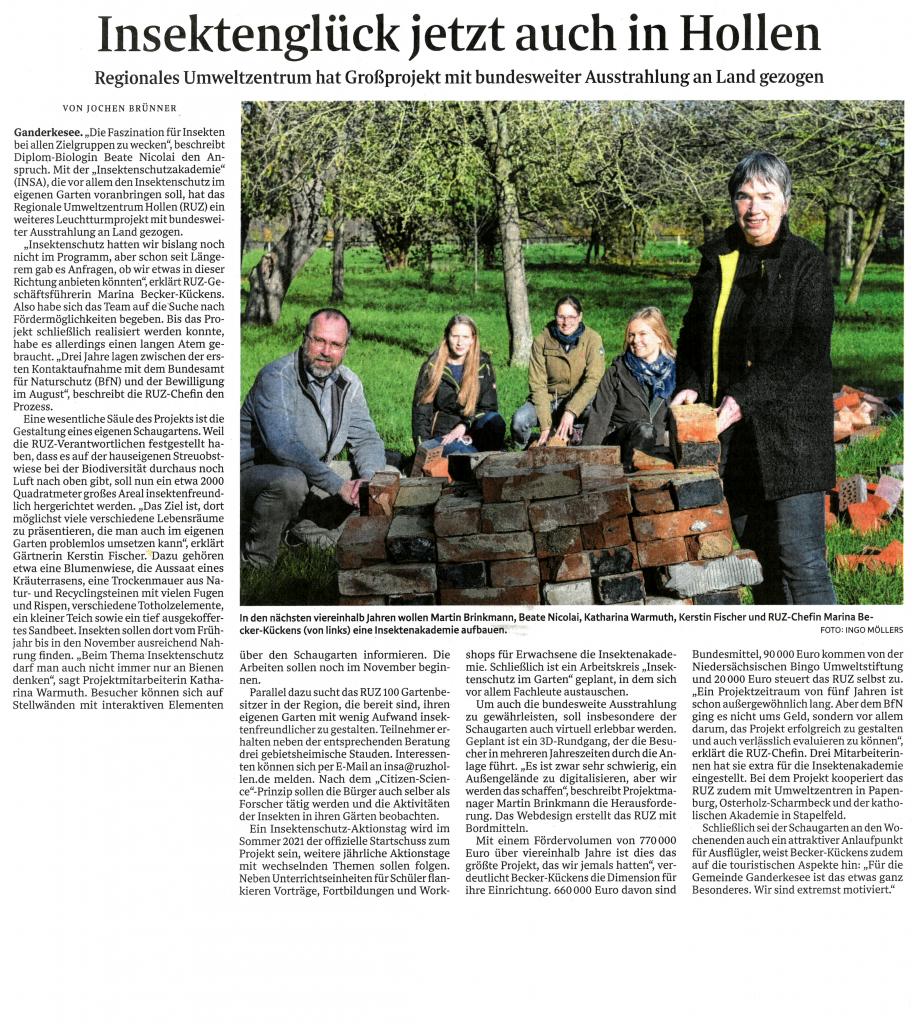 Zeitungsartikel aus dem Weser-Kurier vom 14.11.2020.
