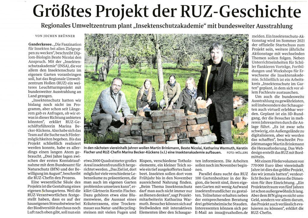 Zeitungsartikel aus der Ganderkeseer Rundschau vom 28.11.2020.